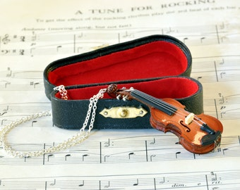 Violin Necklace in Case, Music Jewellery, Fiddle Necklace