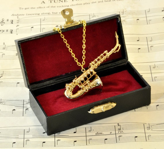 Alto Saxophone Necklace in Case - Music Necklace - Saxophone Jewellery