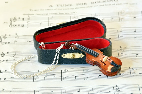 Violin Necklace in Case, Violin Gift, Music Jewellery, Fiddle Necklace
