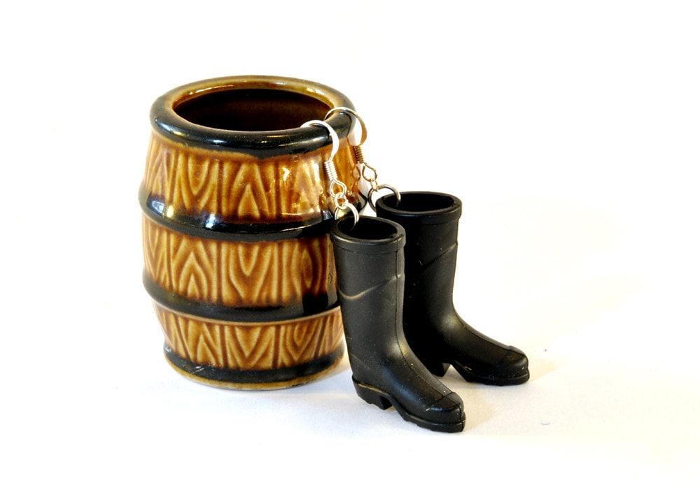 Black Wellington Boot Earrings - Rainy Day Jewellery - Gardener Earrings