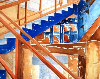 Large Watercolor Painting   -Lone Star Stairwell-