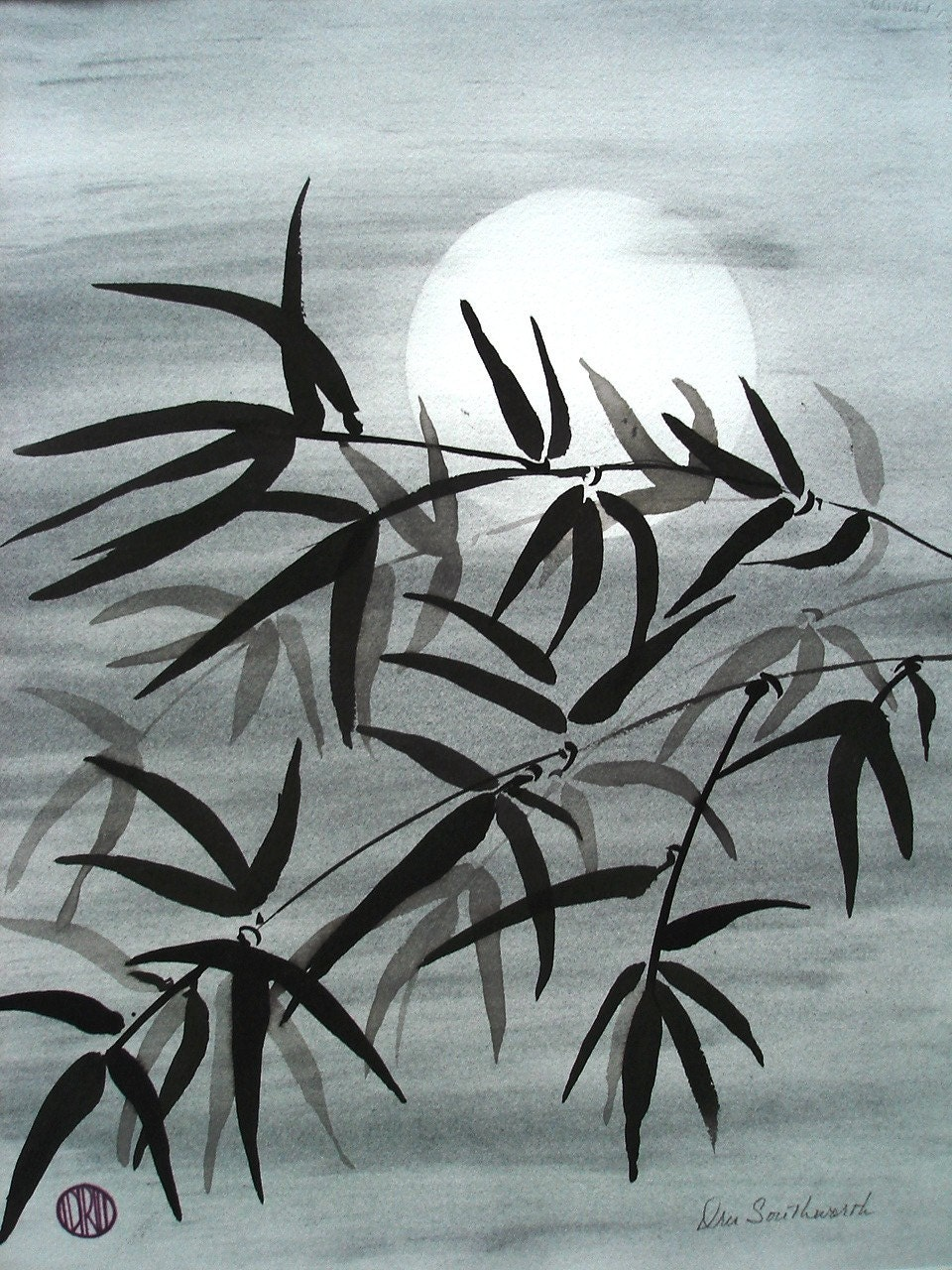 Matted And Framed Ink Wash Painting Bamboo In The Moonlight