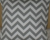 SALE 20% off one  20 x 20  Pillow Covers ZigZag Grey Fabric both sides