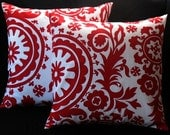 New Release Two  20 x 20 Christmas Pillow Covers Premier Prints Suzani Lipstick Red