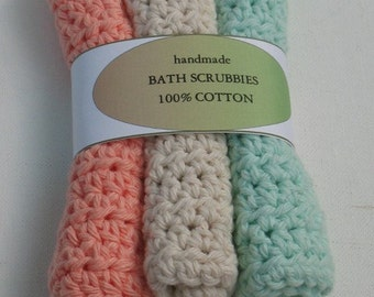 SALE Crochet CottonBath Scrubbie Washcloth
