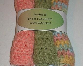 SALE SALE THREE Crochet Cotton  Bath Scrubbie Washcloth