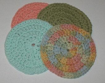 Organic Crochet Face Scrubbies Set of four