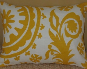 NEW 12 x 16 Lumbar Pillow Cover Suzani Yellow