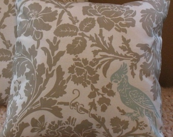 Two Designer Throw Pillow Covers 20 x 20  Barber Taupe Robin