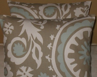 SALE  Two Throw Pillow Covers 20 X 20 Suzani Powder Blue and Taupe Both Sides