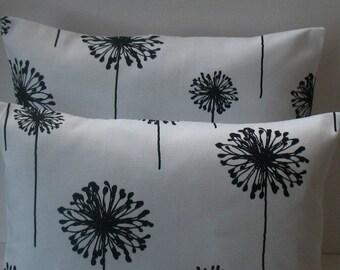 SALE   Two 18 x 18 Premier Prints Dandelion white and black