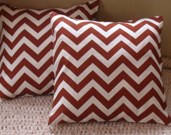 Two 18 x 18  Pillow Cover Zigzag Village Rust for Premier Prints