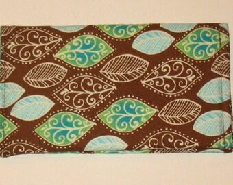 CLEARANCE Checkbook Cover Aqua Leaf Print