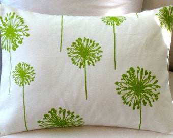 SALE  Chartuese Dandelion  12 x 16 or 12 x 18  Lumbar Pillow Fabric Both Sides one left
