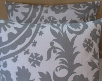 SALE SALE  Two 16 x 16  Pillow Covers Premier Prints Suzani Twill Storm  Grey