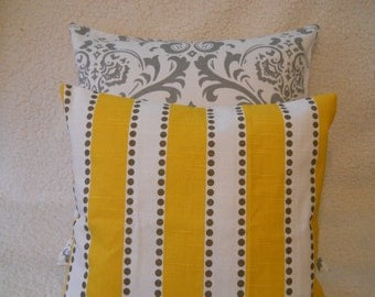 New  Set Two 18 x 18  Pillow Covers Premier Prints  One Grey Damask and One Lulu