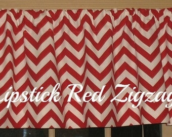 NEW Window CURTAIN Valance Premier Prints Lipstick Red Zigzag Window Curtain