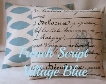 New 18 x 18  Set Antique Script and Chipper Pillow Covers Chipper Village Blue