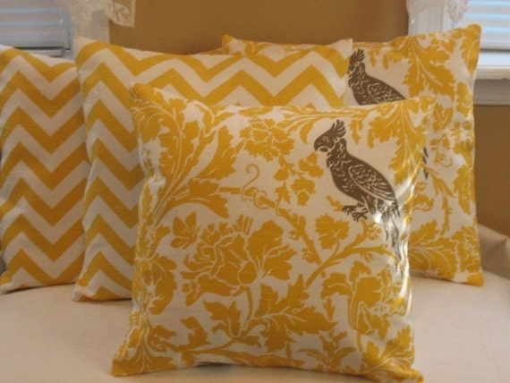 New THE Corn Yellow Texture Collection  Two Pillow Covers 16 x 16 Premier Prints Barber Bird Texture