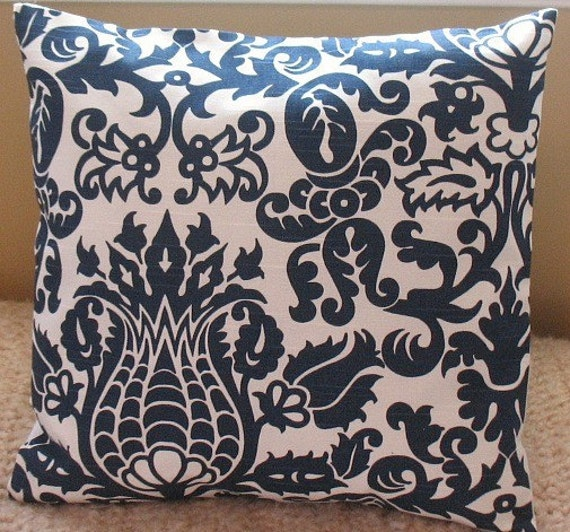 Two 16 x16  pillow Covers Amsterdam Navy Damask