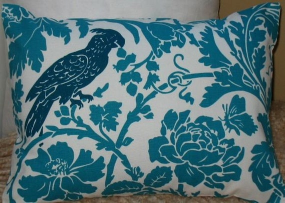 NEW 12 x 16 Lumbar Pillow Cover Barber Robin True Turquoise