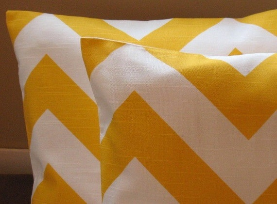 NEW Texture Corn Yellow Collection Two 18 x 18 Pillow Covers Premier Prints Chevron Large Zigzag