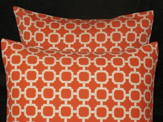 New Two 16 x 16  Pillow Covers Manderin Orange