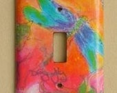 watercolour dragonfly lightswitch cover