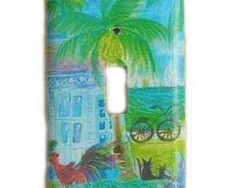 light-switchplate.... beach house w/ bike, rooster, and cats