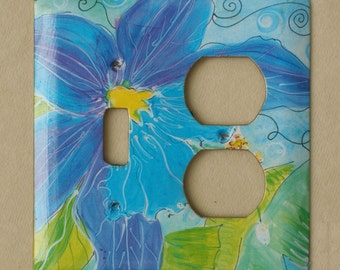 blue, periwinkle, and soft green watercolour lily lightswitch cover