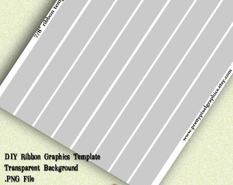 INSTANT DOWNLOAD-DIY Ribbon Graphics Template 7/8 inch Print Your Own Ribbon Images