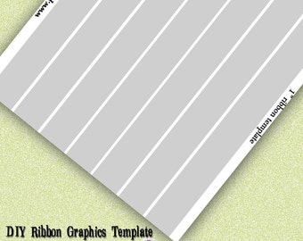 INSTANT DOWNLOAD-DIY Ribbon Graphics Template 1 inch Print Your Own Ribbon Images