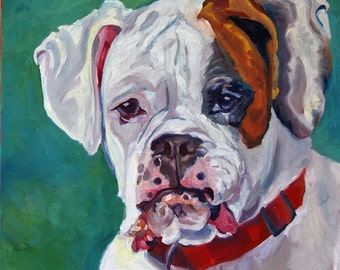 White Boxer Dog Fine Art Print