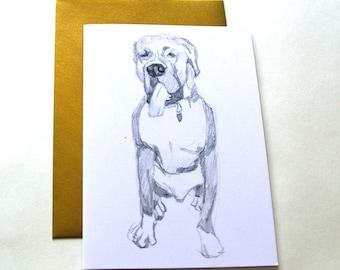 Panting Boxer Dog Fine Art Greeting Card