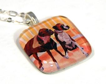 Boxer Dogs Glass Pendant Charm Necklace