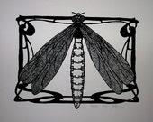 Art Nouveau Dragonfly Fairy - Handpulled Limited Screenprint