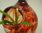 Hanging Ornament Vase- Red Striped Vase- Hand Blown Glass- Pendant Vase- Window Vase