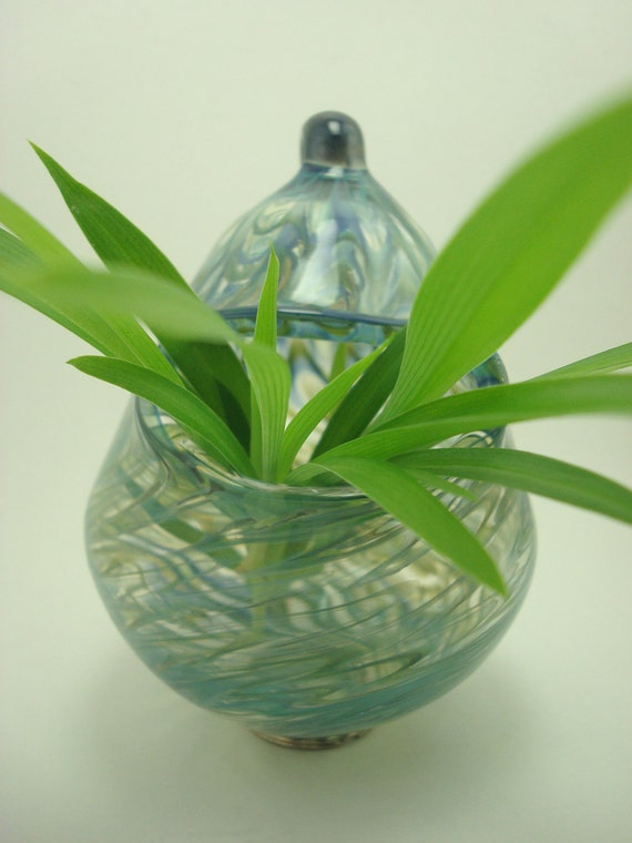 Blue and Green Colored Hanging Vase- Hand Blown Glass- Pendant/Ornament/Bulb Vase