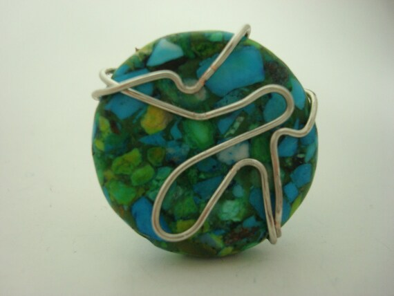 Turquoise Mosaic Fashion Ring- Cocktail Ring- Turquoise, Green, and Aqua