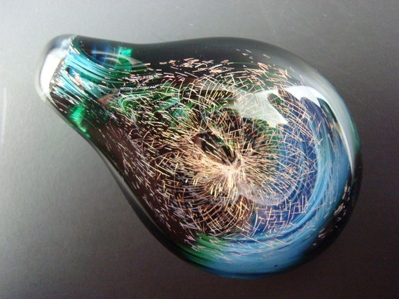 Fireworks on the Lake Hand Blown Dichroic Glass Pendant