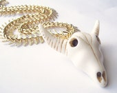 Western Tribal Longhorn Pendant and Etched Gold Chain Statement Necklace