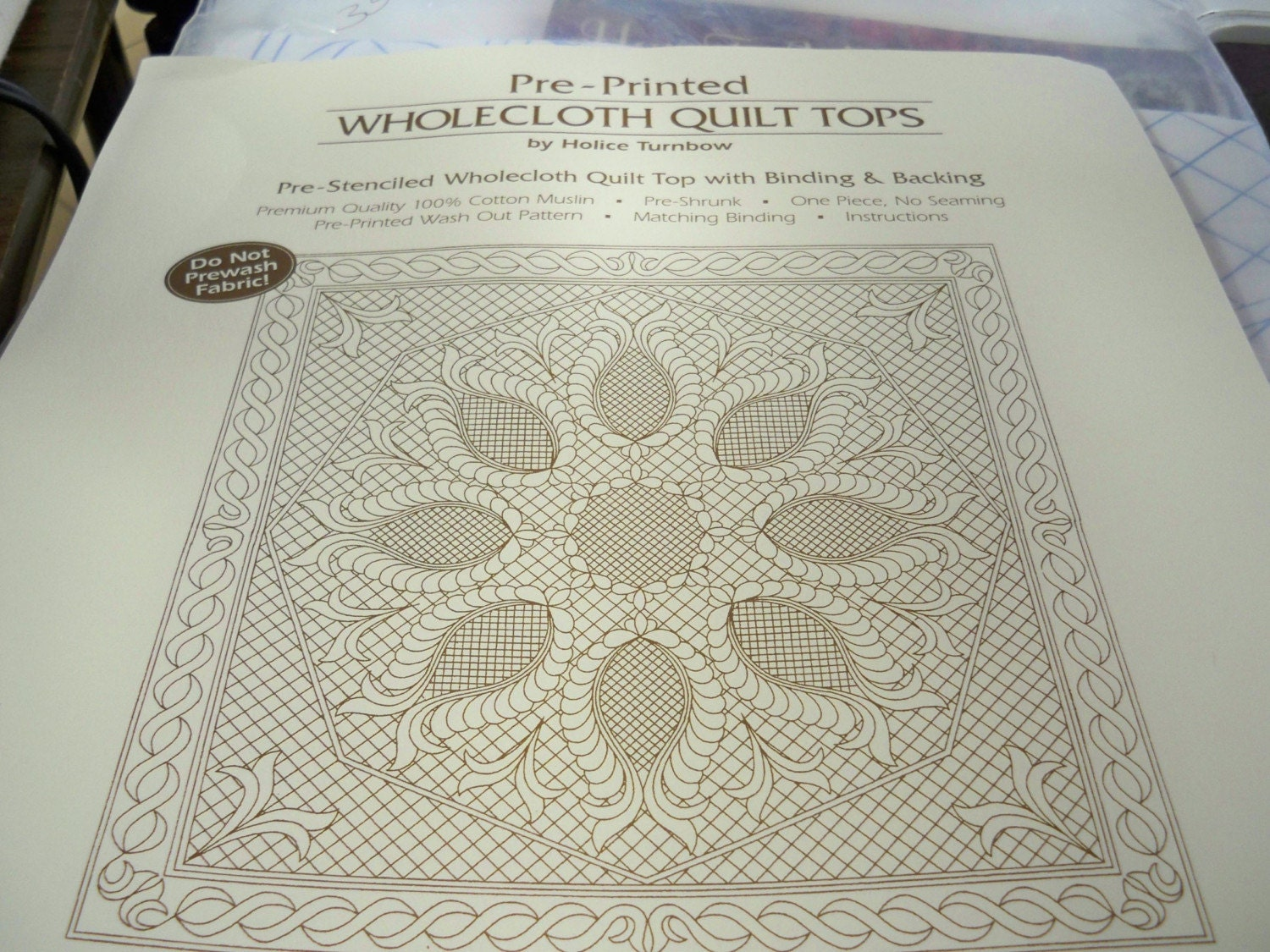 Pre Printed Wholecloth Quilt Top Wallhanging 40 X 40 Feathered