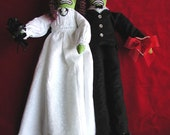 Zombie Bride & Groom Creepy Cute Monster Doll Couple Made to Order