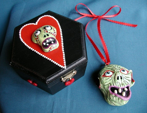 RESERVED For Kirk M. Allen  Zombie Love Valentines Day Trinket Box With Zombie Head  Monster Ornament