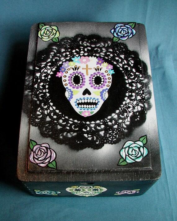 SALE Halloween Day of the Dead Sugar Skulls & Flowers Handpainted Original Revamped Wood Cigar Box Jewelry Box