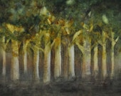 Evening Forest - Original Watercolor - Trees, Forest, a hint of Fall