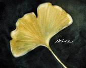 Lucky Ginkgo leaf -  print of original watercolor painting 8 x 10 in