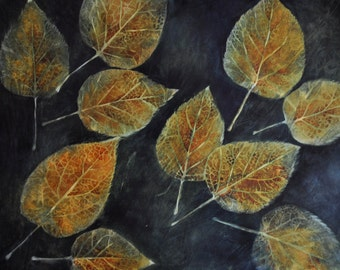 Golden Fall Leaves -- original watercolor painting - 18 x 24""