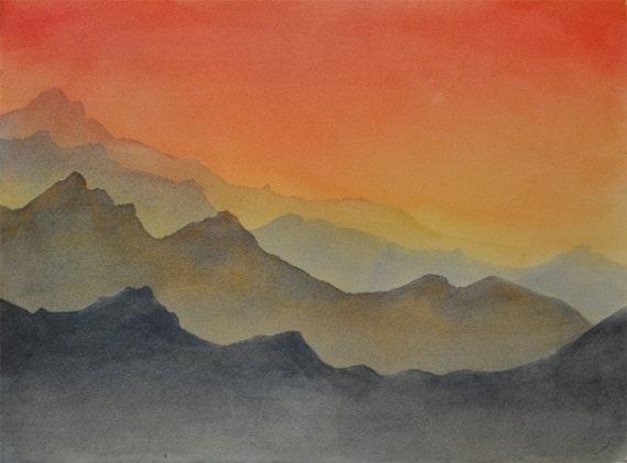 Original watercolor - Mountains