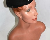 Vintage 1950s Black Wool Felt Hat with Cutouts and Rhinestone Details